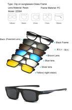 Brightzone 5 поляризованные солнцезащитные очки с магнитным адсорбентом, прозрачные очки в оправе для мужчин и женщин, оптические очки для близо...(Китай)