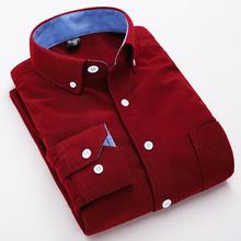 2015 Corduroy Men Shirts Vintage British pure color stripe leisure men's clothing Long Sleeve men shirt for Autumn Winter
