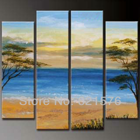 Hand-painted Hi-Q modern hanging wall art home decorative landscape ocean oil painting on canvas Beach trees 4pcs/set framed