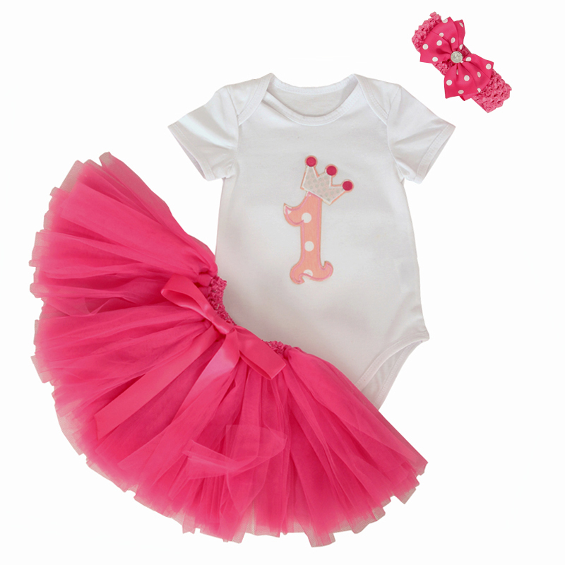 19b1ca36c 3Pcs Set Baby Girl Crown Tutu Dress Infant 1st Birthday Party Outfit ...