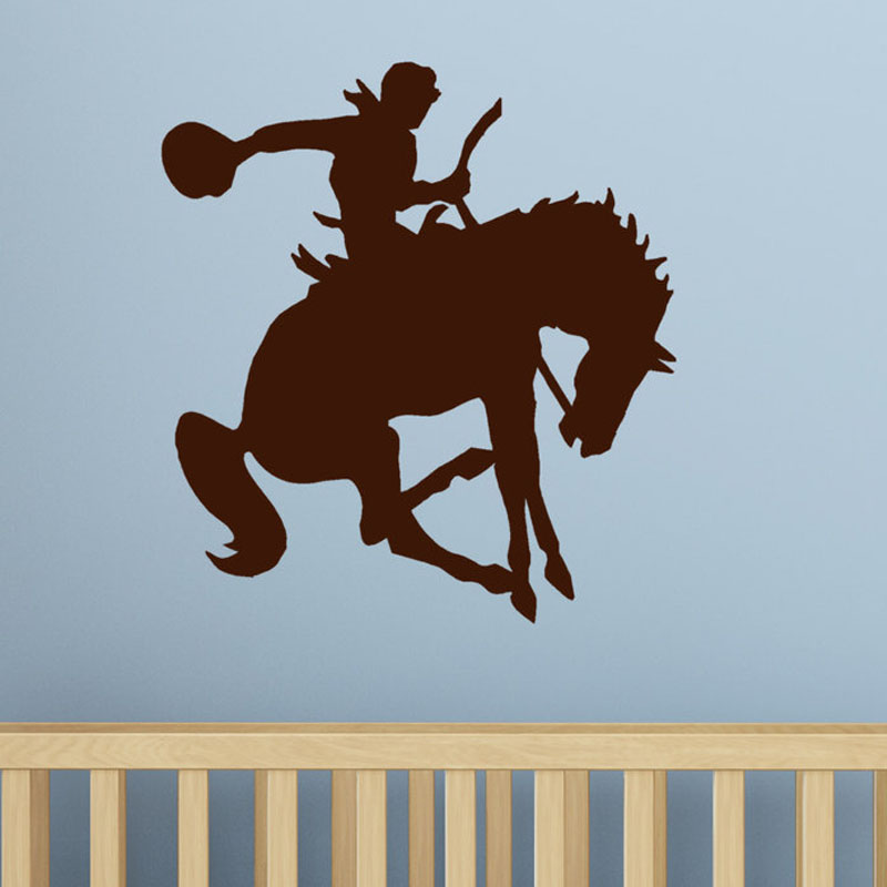 Western Rider Riding Horse Wall Stickers Kids Room Vinyl Removable Home Decor Bedroom Wall Decals