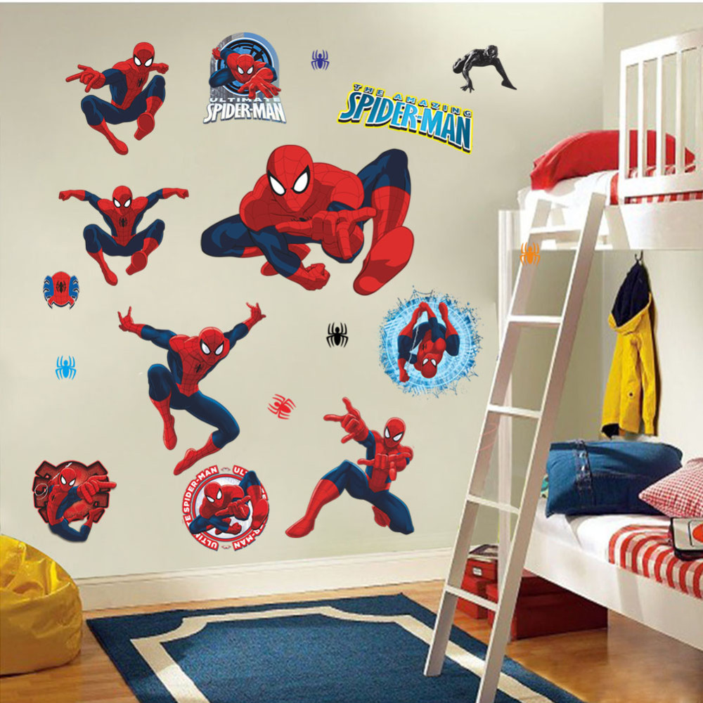 Spiderman Stickers Movie Character 3d Cartoon Spiderman Stickers For