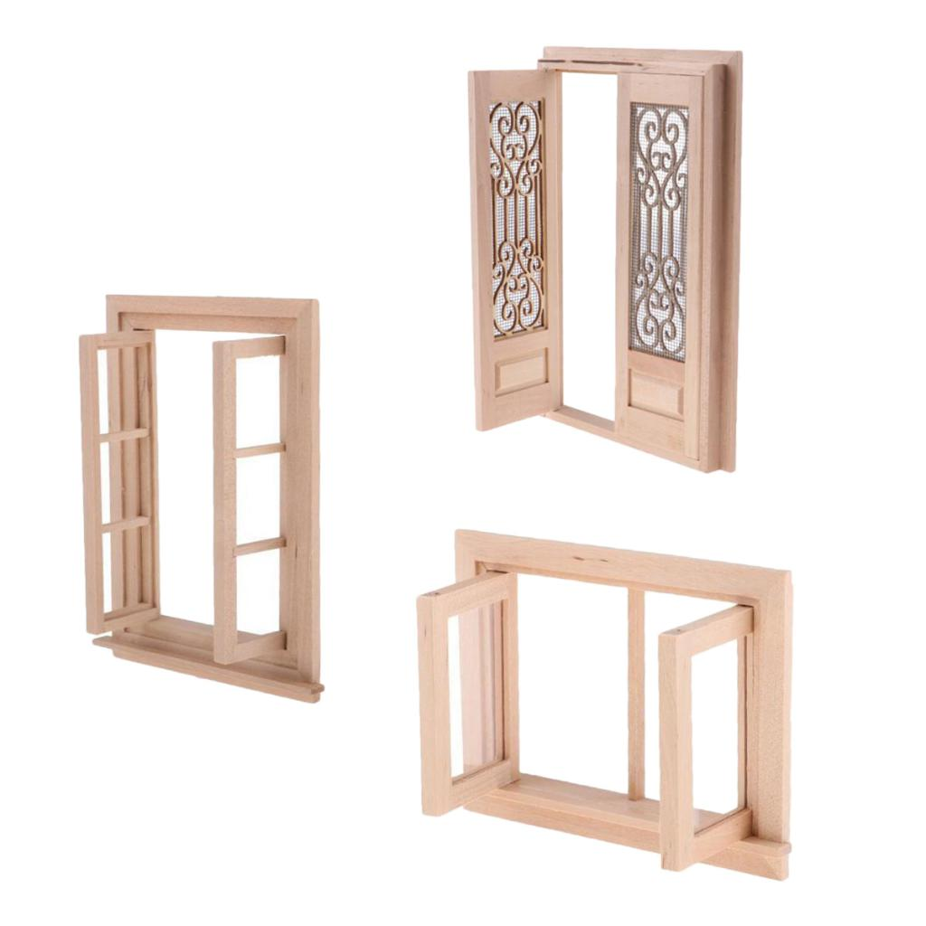 112 Doll House Furnishings Miniature Accessories Double Door Windows And Doors Wood Unpainted Model For Any Rooms Decor