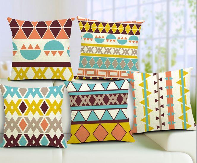 15pcs bohemian stripe cushion covers decorative throw pillows sofa pillowcases home decor vintage cotton linen wave geometry