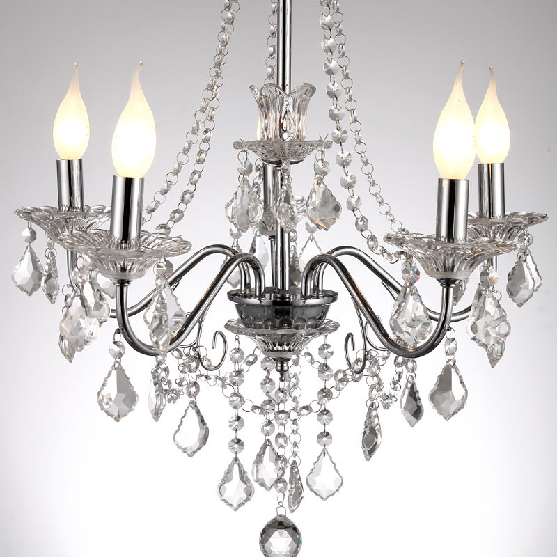 "Dining Room Modern Crystal Chandeliers: 21"" European Modern Crystal Hanging Polished Chrome 5"