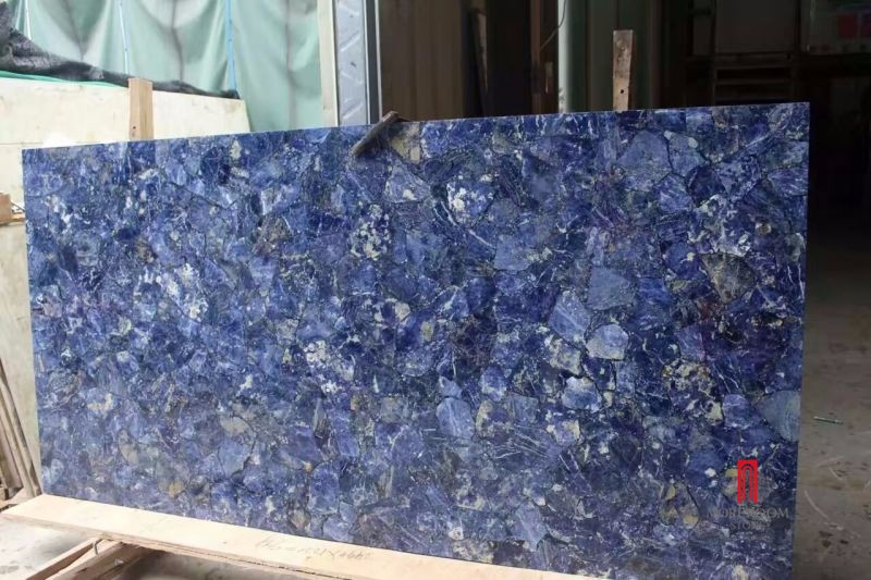 Glass Laminated With Blue Marble Stone Slabs And Tile For