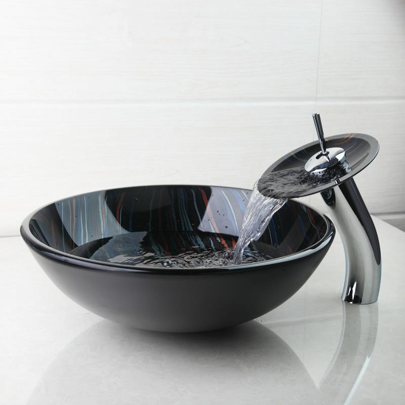 buy yanksmart bathroom sink set hand painting tempered glass basin bowl sinks. Black Bedroom Furniture Sets. Home Design Ideas