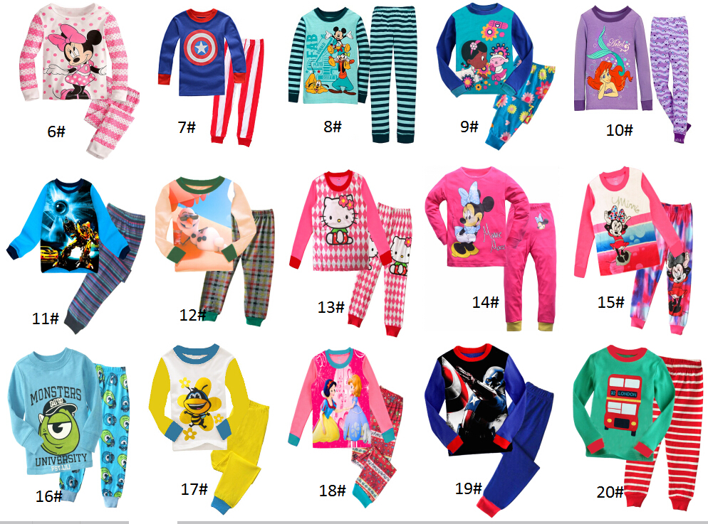 New Pyjamas boy girl kids long sleeve pajama set baby cartoon pajamas sleepwear kids clothes set