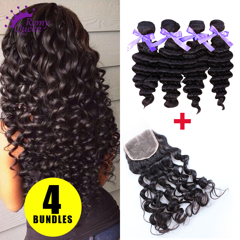 Remy Queen Hair Indian Deep Wave With Closure 4PCS 7A Unprocessed Indian Virgin Hair Closure 100