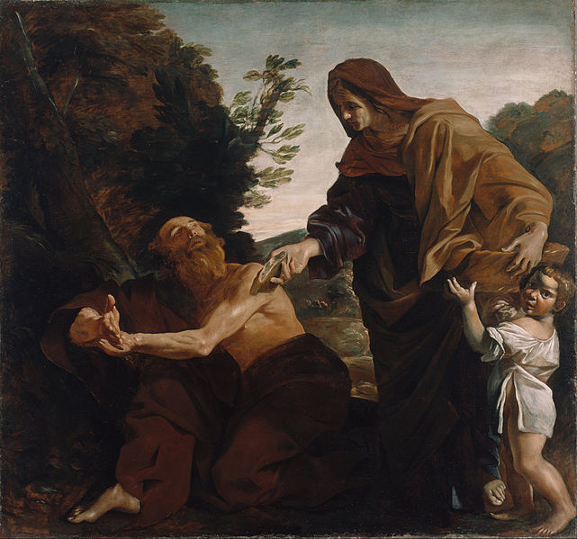 Canvas Art Prints Giclee Oil Painting Giovanni Lanfranco (<font><b>italian</b></font> - Elijah Receiving Bread From The Widow Of Zarephath