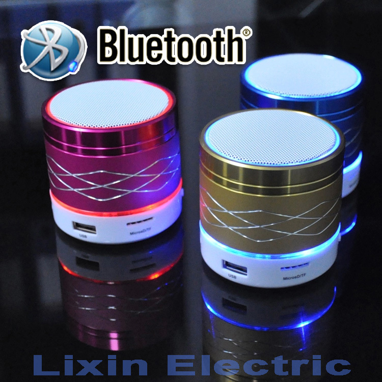 SA20 LED Light Portable Mini Metal Steel Wireless Bluetooth Speaker Music Amplifier with FM Radio MP3 Player Support SD Card