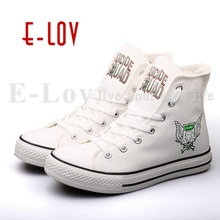 56f2a7fc61c5 E-LOV Custom Printed Skeleton Suicide Squads Canvas Shoes Cosplay Harley  Quinn and Joker Casual