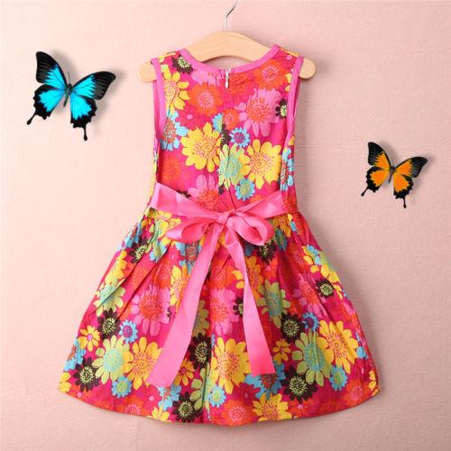Toddler Kids Girls Summer Princess dress Floral Pierced Dresses vestido infantil kids clothes