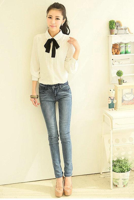 mode weibliche elegante fliege wei blusen chiffon peter pan kragen. Black Bedroom Furniture Sets. Home Design Ideas