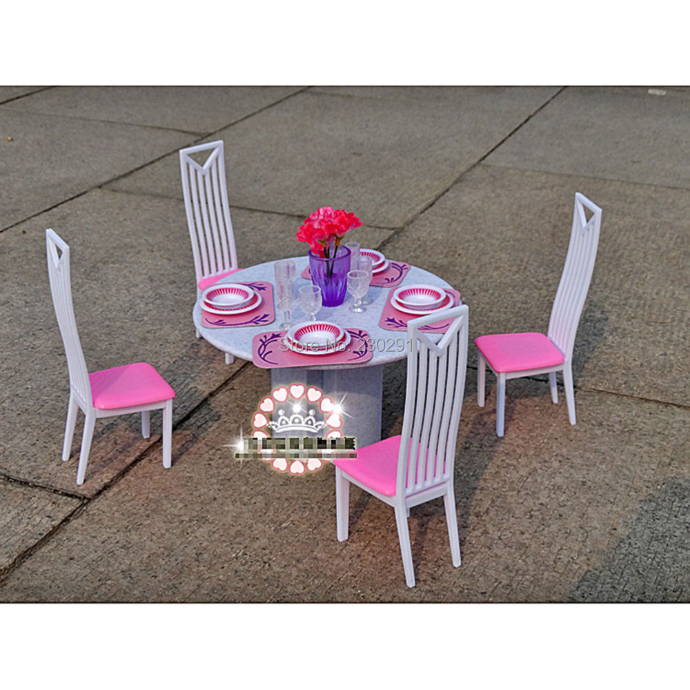 Dining Room Play: Dining Room Table 4 Chairs Dinnerwares Furniture Play Set