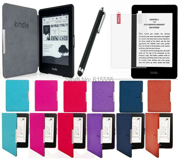 Wholesale-Origin kindle paperwhite 2/1case cover free shipping 1set/lot  +screen protector+stylus touch pen for gift 7 colors free shipping