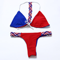 2016 Sexy Brazilian Bikini Reversible Tails Swimwear Women Strappy Halter weave knit Swimsuit Bathing Suit Thong