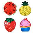 4 Styles Fruits Ice Cream Printed Round Shape Beach Mat Watermelon Strawberry Pineapple Thin Beach Towel