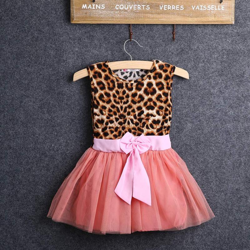 2016 Girls Summer font b Dress b font Baby Kids O neck Sleeveless Girls Leopard Printed