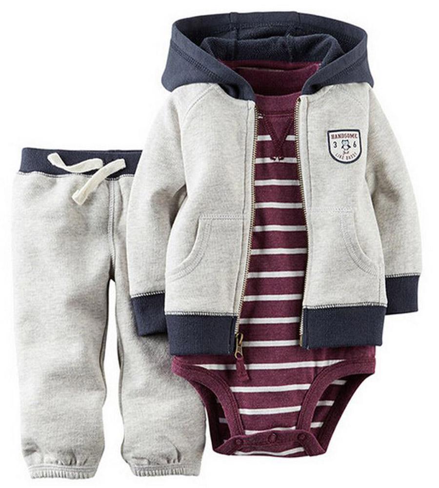 fe5f207157d2 2019 2018 Baby Bebes Boys Clothes Set Jacket + Romper + Pants Boy ...