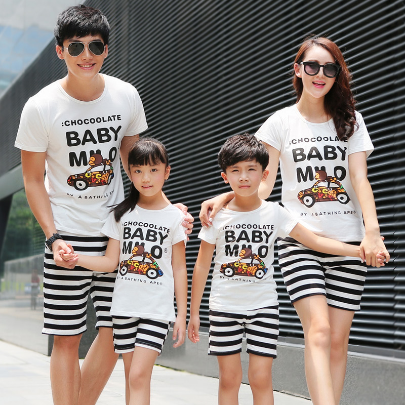 2016 Summer Family Matching Clothing Father Son Outfits Short Sleeved Cotton CAR T Shirt Short Pants