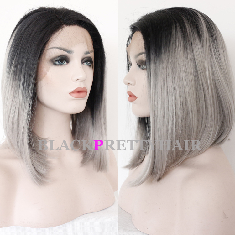 Short Straight Synthetic Lace Front Wigs Black Lace Front
