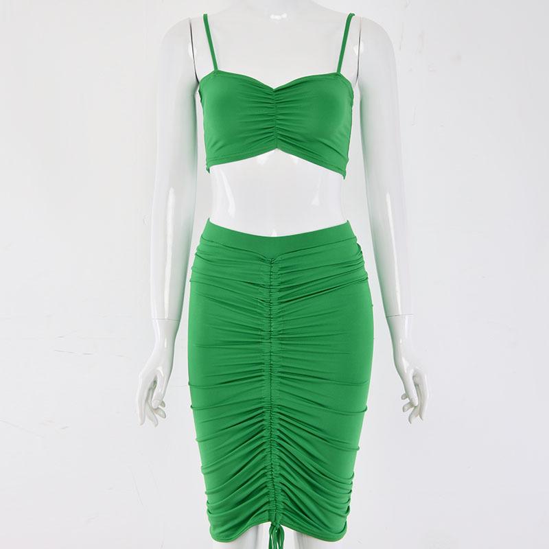 Комплект из двух предметов: укороченный топ и юбка Женский комплект 2 шт., Сексуальная плиссированная облегающая одежда с рюшами(Китай)