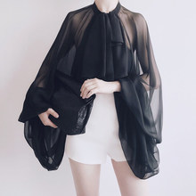 Женская шифоновая блузка TWOTWINSTYLE, прозрачная блузка с рукавами-фонариками и бантом, Повседневная блузка большого размера, весна-лето 2020(Китай)