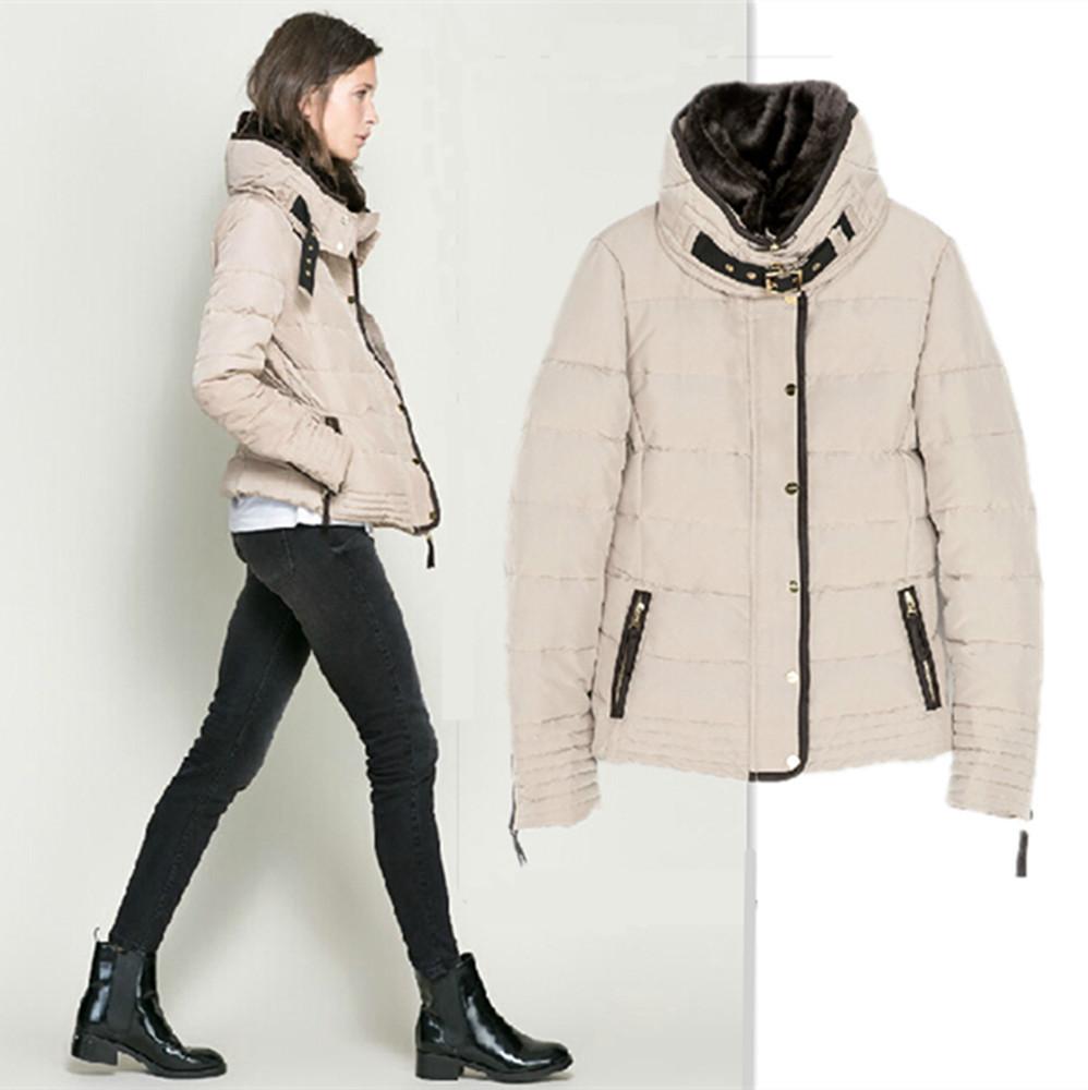 2014 Fashion Winter Women Sand Beige Down Parkas Jacket