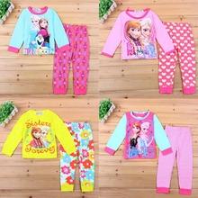 2015 Brand Character Elsa Pajamas Set Baby Girls Cute Cotton Sleepwear Pajamas Set Children Kids Pijama Infantil kids Clothing