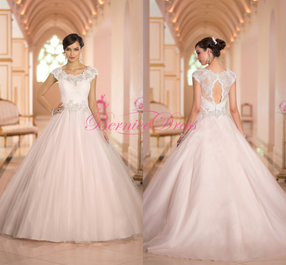 Light Pink Wedding Gown: Ball Gown Wedding Dresses 2014 Court Train Scoop Lace