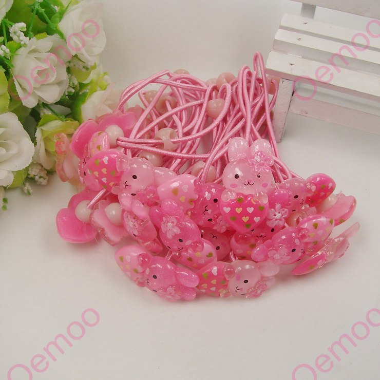 Wholesale Mix colors 50pcs 15 31mm Lovely Rabbit with a heart Hair Ropes Hairband for Kids