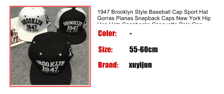 Wholesale- 1947 Brooklyn Style Baseball Cap Hat Gorras Planas ... 77f945d1204