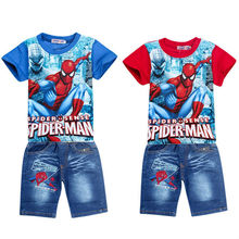 Retail spiderman kids clothing sets fashion cartoon children summer shirt jeans shorts set toddler boys clothing