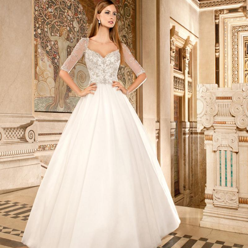 2016 Half Sleeve Wedding Gowns Sweetheart Bling Bling