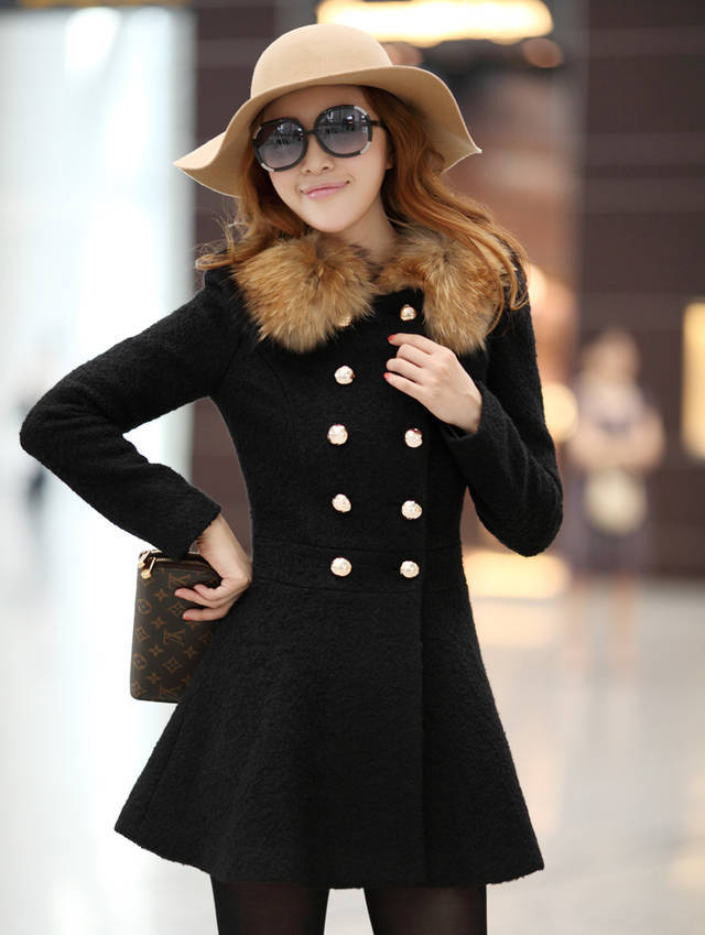 Зима женщины шерсть и смеси шерстяная ткань пальто приталенный и длинная участки двубортный шерсть воротник плащ пальто