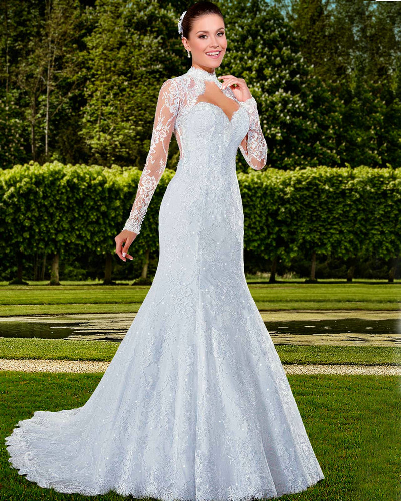Simple Elegant Open Back Long Sleeve Wedding Dress: Elegant Long Sleeve Wedding Gowns With Jacket Open Back
