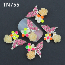 10pc Glitter Butterfly Rhinestones 3d Nail Art Decorations with Rose Alloy Nail Charms Jewelry for Nail