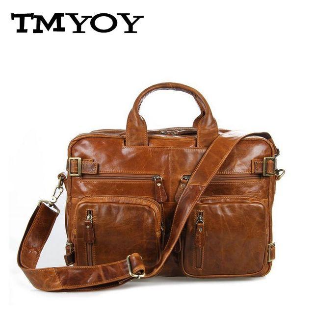 fbf843fc8a48 TMYOY Деловой стиль мужчины качество натуральная кожа сумка для мужчин  многофункциональный .