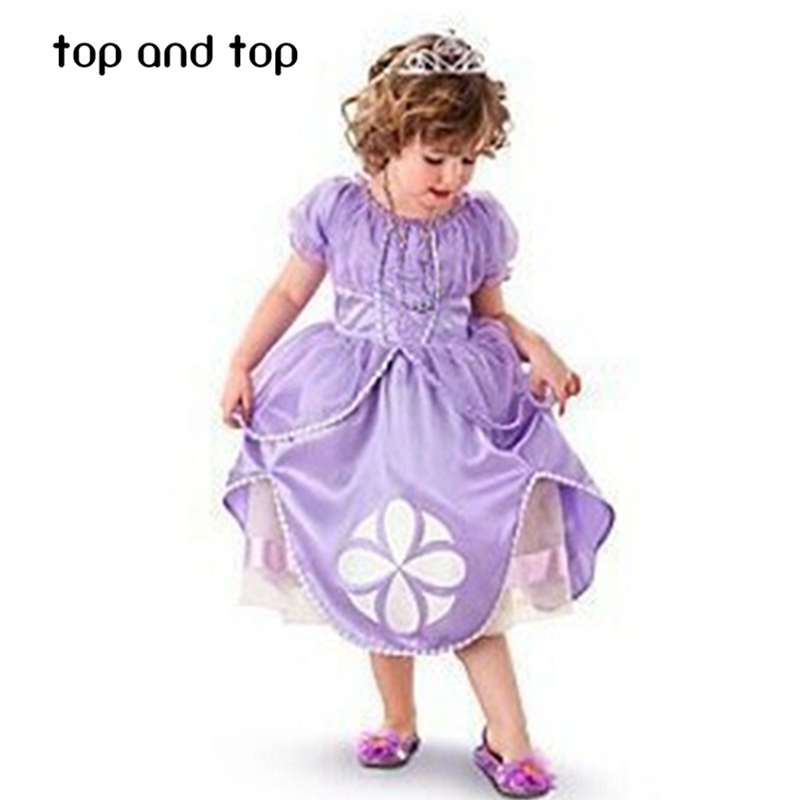 Casual cartoon baby girl dress sofia princess purple Fluffy dress big petals princess Sophia Free shipping