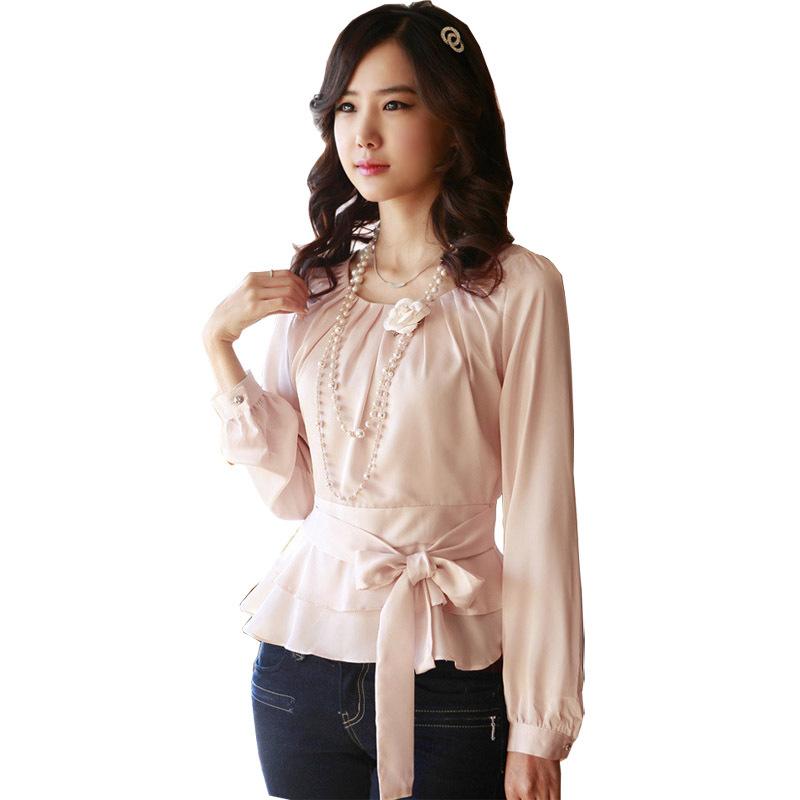 2019 Autumn Lady Fashion Chiffon Blouses Size S 2xl Korean White