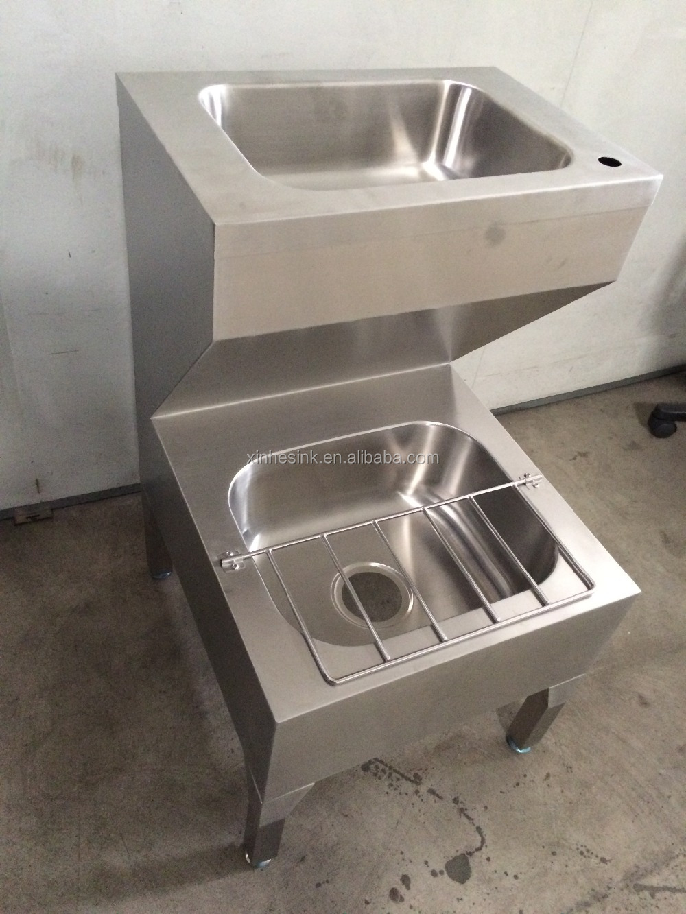 Economy Stainless Steel Floor Mount Double Bowls Hand