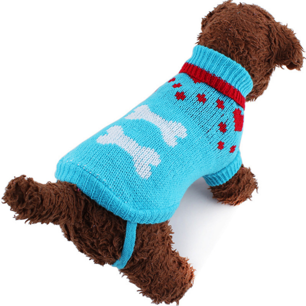 Dog sweaters can be made from a variety of materials, giving the sweater various knit looks, thicknesses, and features. Many sweaters are made of wool-knit yarn, providing many designs from intricate cable patterns to classic ribbing.
