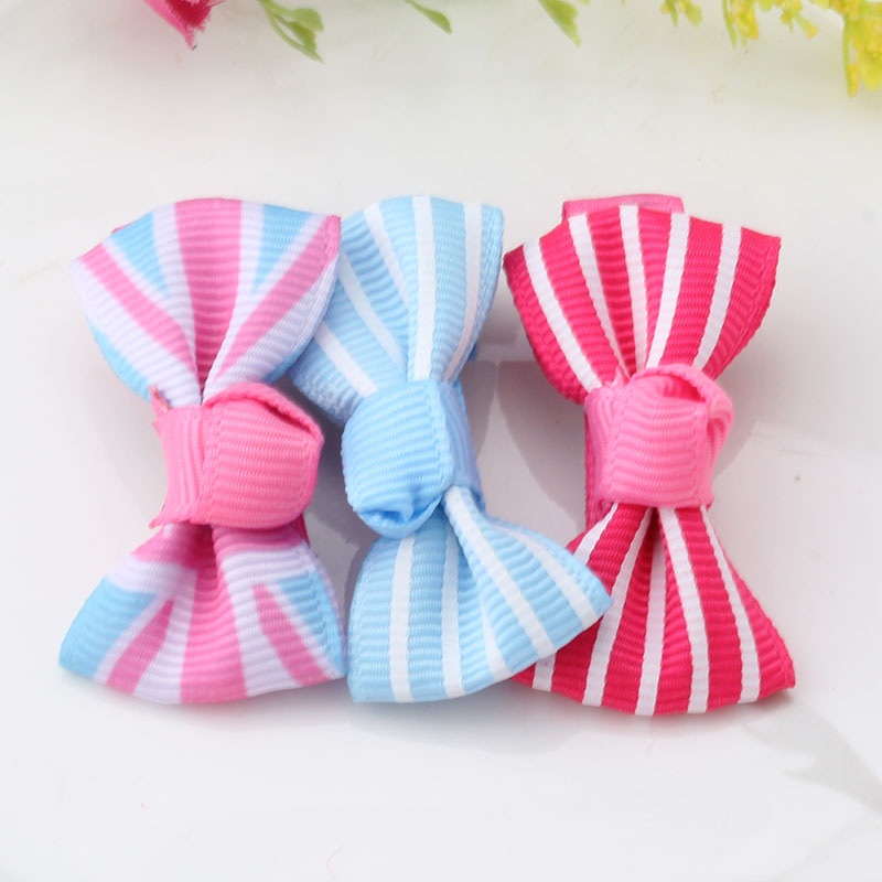 Small Bow Hairgrips Sweet Baby Girls Solid Stripe Printing Wholesale Wrapped Safety Hair Clips Kids Hairpins Bowknot Barrettes