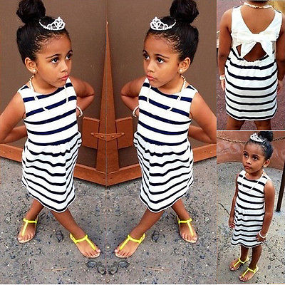 New Summer Baby Kids Girls font b Dresses b font Party Wedding Striped Bowknot Gown font