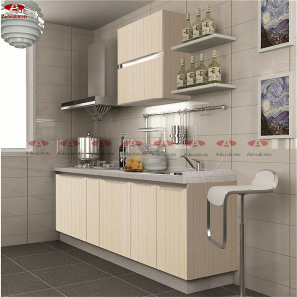 Stainless Steel Modular Kitchen Cabinets: Modular Yellow Wooden Grain Stainless Steel Commercial