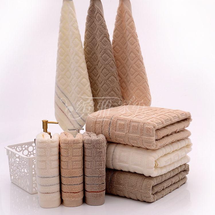 Elegant Bathroom Sets: 2 3PCS Elegant Cotton Terry Bath Towels Sets For Adults