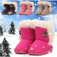 2014 winter children snow boots single explosion models thick warm cotton-padded suede buckle boys girls boots manufacturers