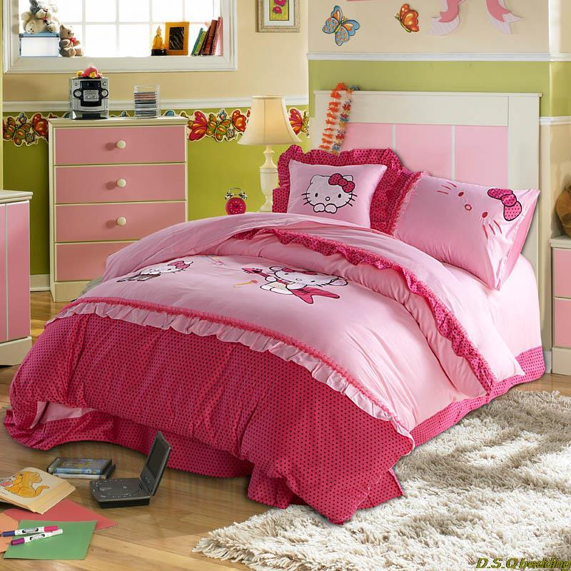 lace hello kitty cotton active print embroidered kids bedding sets full queen size duvet cover. Black Bedroom Furniture Sets. Home Design Ideas