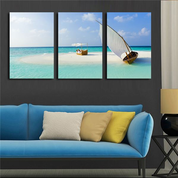 3 Panel Modern Wall Art Home Decoration Canvas Painting Canvas Prints Sea Scenery Beach Sailing Pictures Prints Art Unframed)